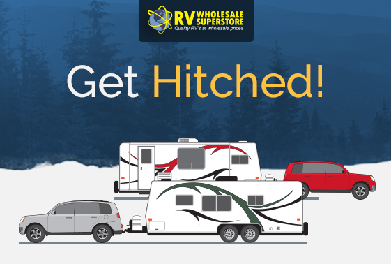 Illustration of vehicle pulling RV travel trailer
