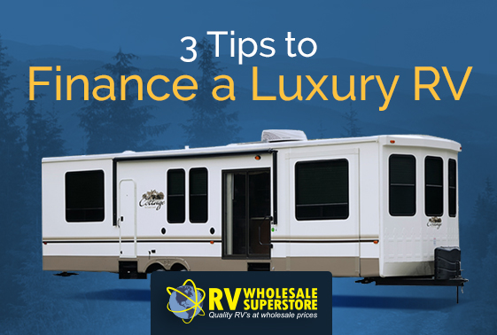 Exterior of a luxury RV travel trailer