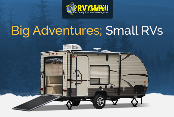 Exterior photo of small toy hauler RV travel trailer