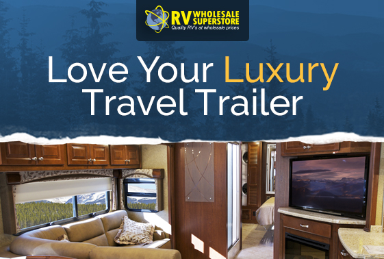 Interior photo of luxury travel trailer RV