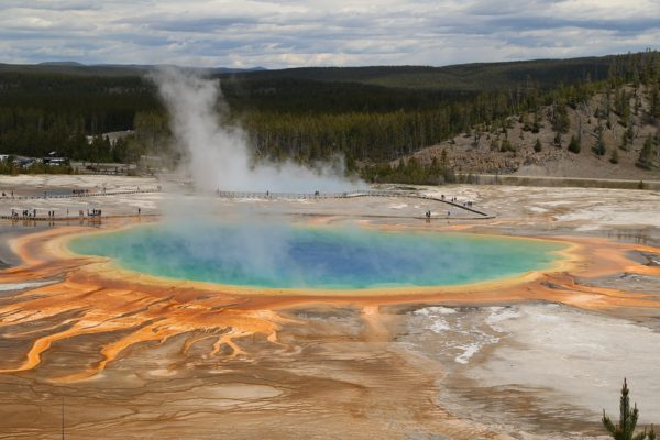 The Grand Prismatic Spring at Yellowstone National Park in Wyoming.