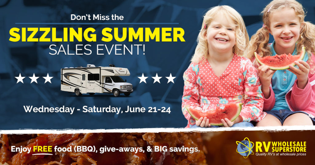 RV Sales Event flyer with two girls eating watermelon
