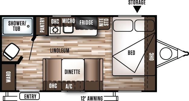 Floorplan of the 2017 Wildwood X-lite 185RB RV.