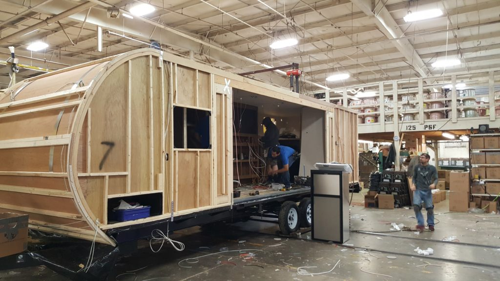 RV being constructed at Wildwood RV factory tour.
