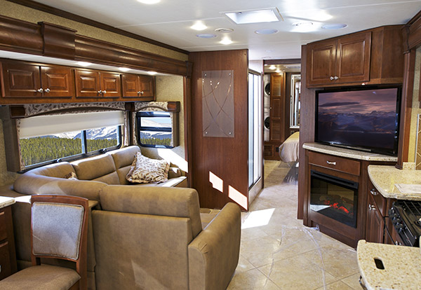 Interior of Class A luxury RV.