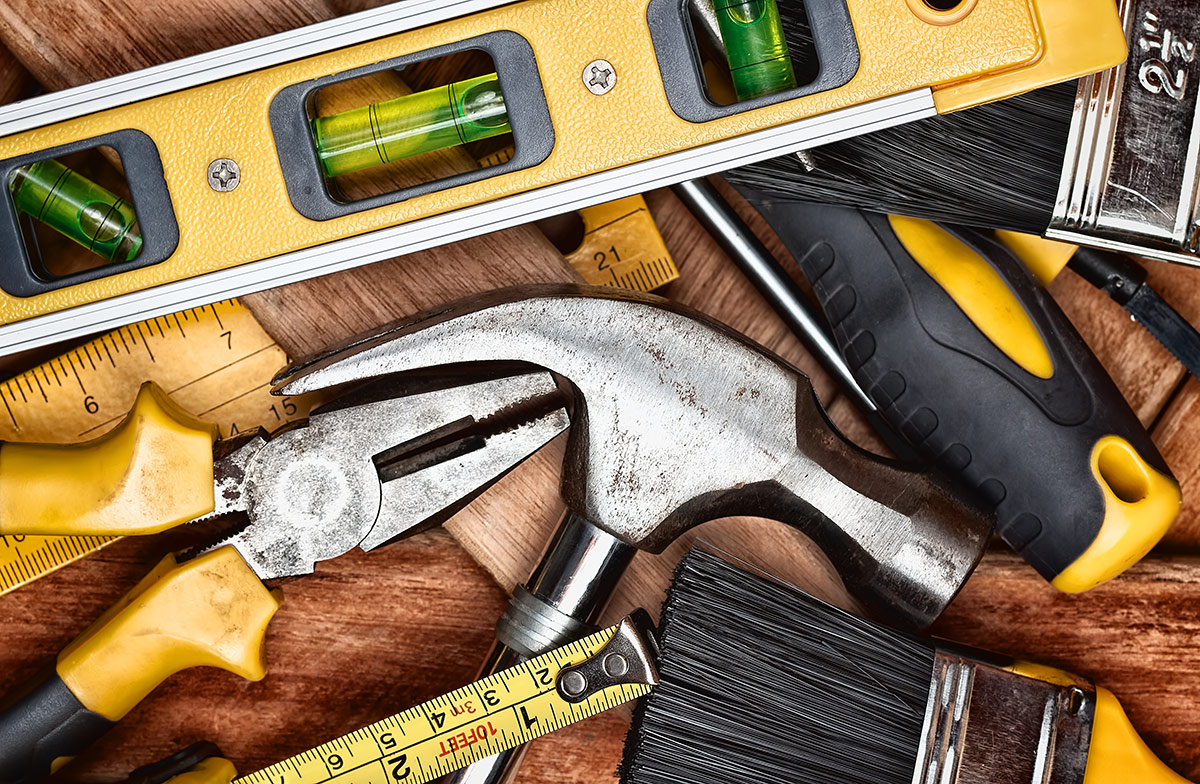 Set of tools for DIY RV repair.