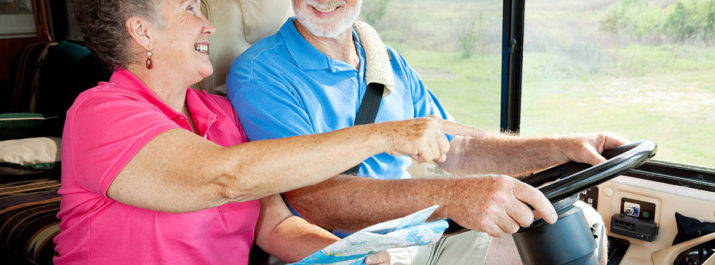 A married couple traveling during RV retirement.