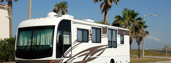 A large motorhome is parked along a palm tree-lined road.