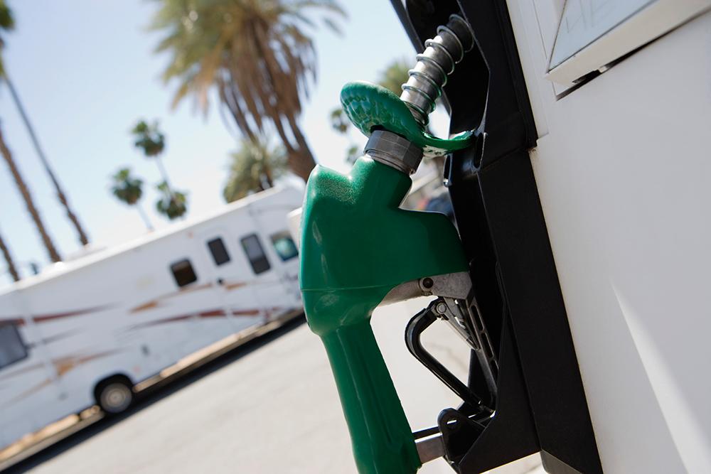 A fuel pump at an RV-friendly gas station.