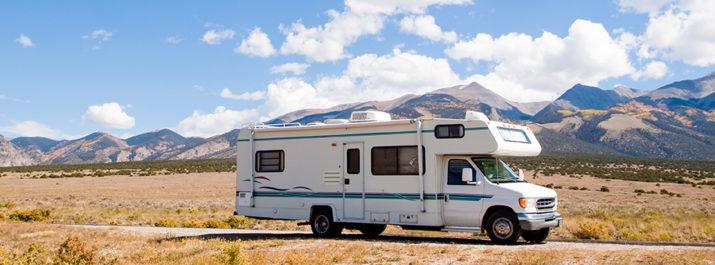 A motorhome on an RV vacation through Colorado.