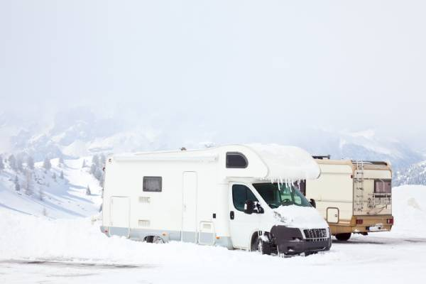 An RV parked at a Midwest winter campsite